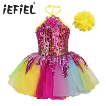 Kid Children Girls Dancewear Dress Sequins 3D Flower Colorful Tutu Dress with Wristband Set for Ballet Dance Stage Performance