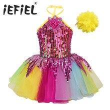 Kid Trẻ Em Cô Gái Dancewear Dress Sequins 3D Hoa Đầy Màu Sắc Tutu Ăn Mặc với Dây Đeo Cổ Tay Bộ Nhảy Múa Ba Lê Hiệu Suất Giai Đoạn