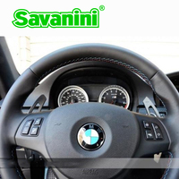 Savanini Aluminum Steering Wheel DSG Shift paddles Shifter Extension For Bmw e90 E92 E93 M3 M6 (2009 2013) Auto car styling