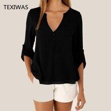 Women Loose Shirt Three Quarter Sleeve deep V Neck Chiffon Blouse (5 colors)