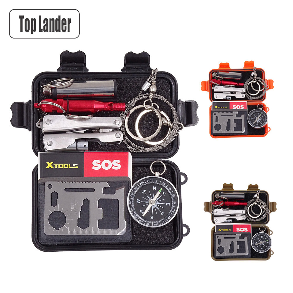 Bushcraft Outdoor Tools Tactical Survival Kit Set SOS Emergency Gear EDC Mini Multi Tool Multitool Gadgets Box Camping Equipment