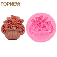 Hot DIY Big Rose Pot Plant Chocolate Silicone Moulds Fondant Jelly Jello Ice Sugar Soap Molds