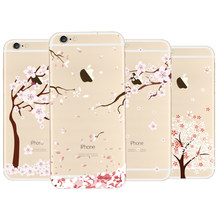 For iphone 6 6s Plus Case Floral Tree Painting Pink Cherry Tree Romantic Soft TPU Cases For Iphone 6 6s Plus(China)