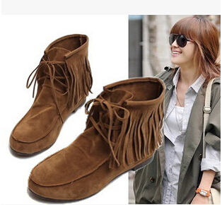 SHOES Women 2015 Tassels Flat Heel Boots Slouch Shoes women ankle boots fringed increased Cozy Flat  Short boots casual shoes black women boots flat heel casual