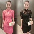 2016 summer modern chinese traditional dress long cheongsam red phoenix plus cheongsam wedding dress fishtail red lace in sequi