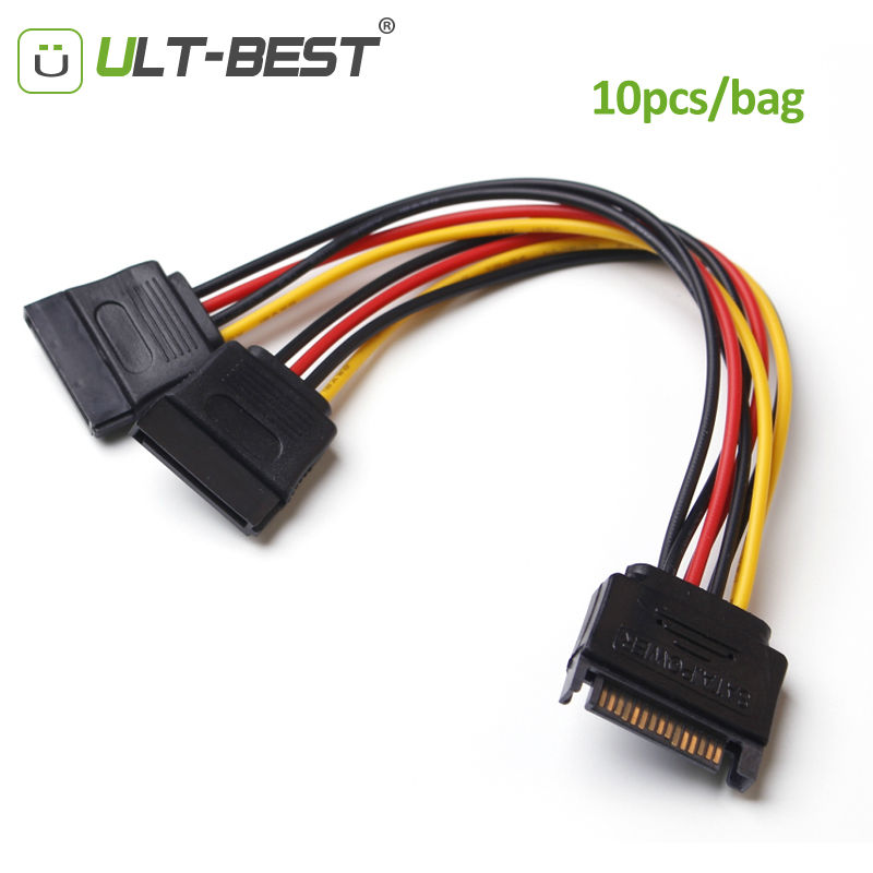 ULT-Best 10PCS/Bag SATA 15pin Power Splitter Cable 15 Pin Male to Serial ATA 15pin x 2 Female Y Hard Drive Cables 15CM