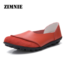 ZIMNIE Brand Summer Woman Soft Leisure Flats Leather Shoes Woman Moccasins Loafers Female Casual Driving Footwear Big Size 35~44