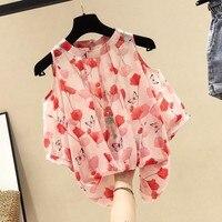 Floral print chiffon blouse korean off shoulder top o neck short sleeve shirt 2019 summer womens tops and blouses camisas mujer
