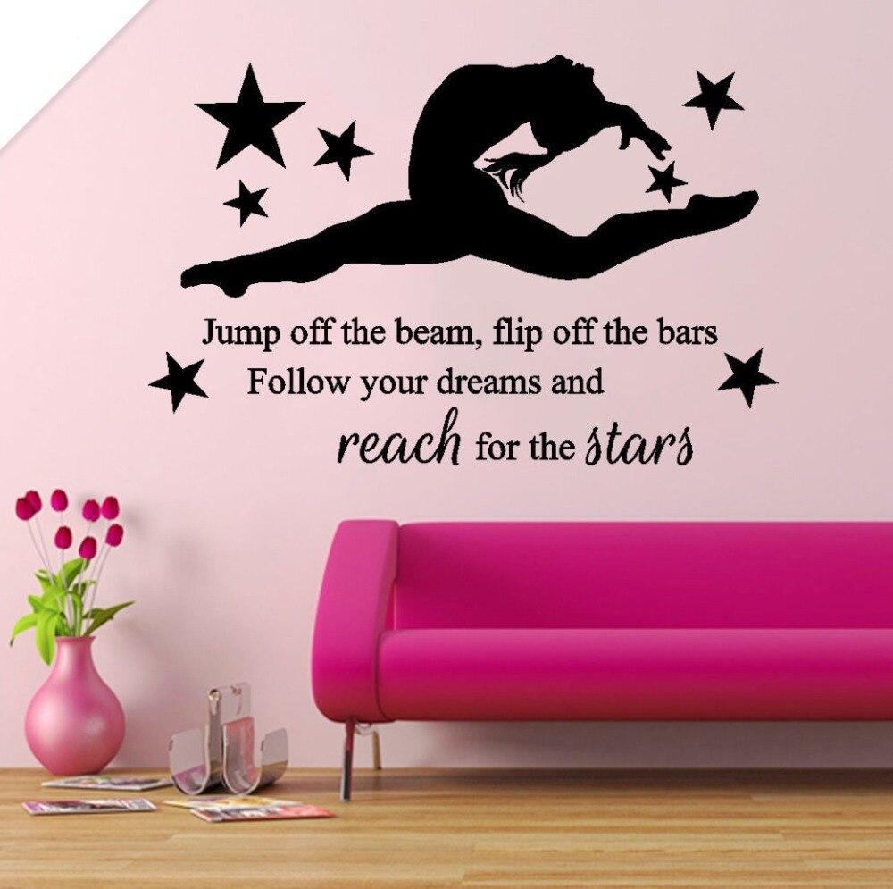 Phrases Murales Of Sporty Spirit Sticker Reach From The Stars Girl Kids