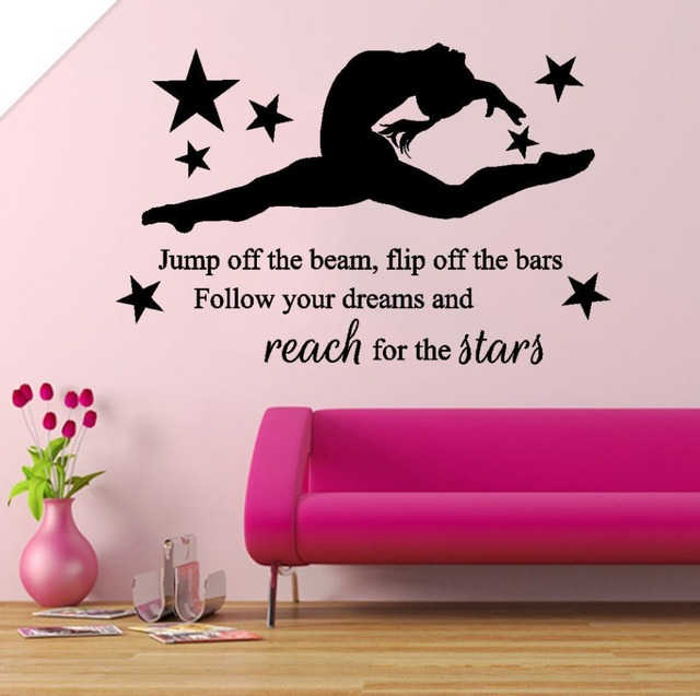 Sporty Spirit Sticker Reach From The Stars Girl Kids Bedroom Quotes