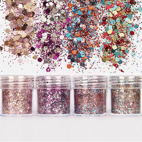 Image 2 - Holographic Effect Nail Glitter SET For UV Gel Polish 10ml/Jar Fine Glitter Sparkles Acrylic Nailart Glitter  Manicure Dust 4jar-in Nail Glitter from Beauty & Health