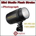 Mcoplus 110 V 200 W profesional Mini Flash de estudio luz estroboscópica para fotografía de iluminación