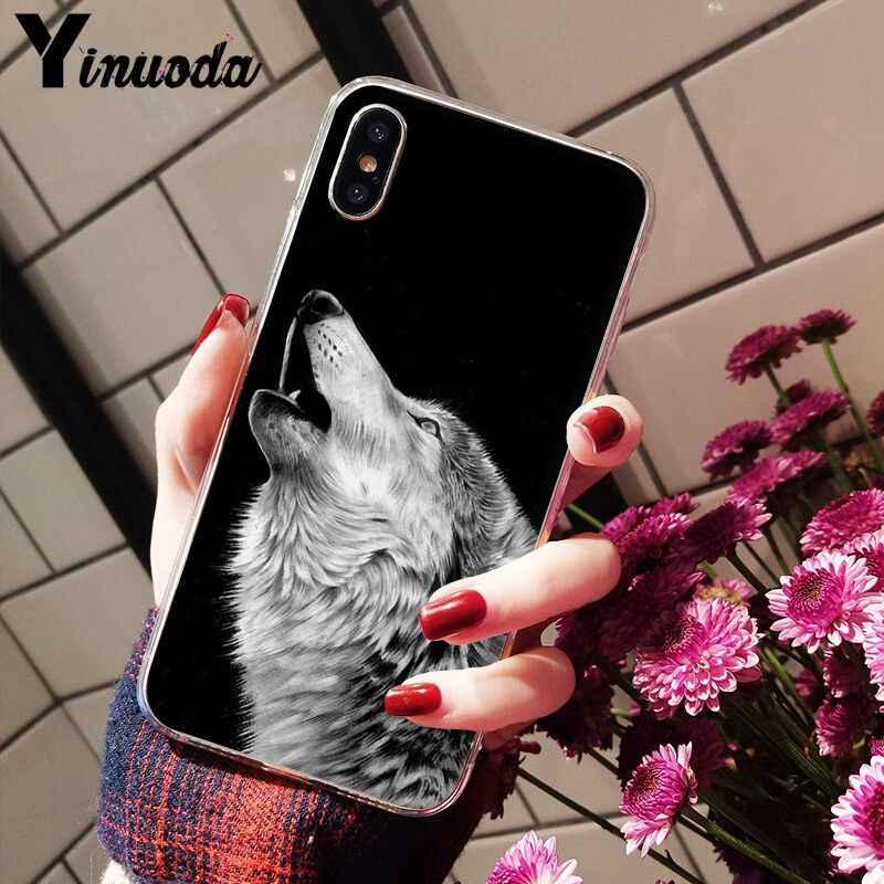 Yinuoda غاضب سنو وولف غطاء ذكي شفاف لينة شل الهاتف حقيبة لهاتف أي فون X XS ماكس 6 6s 7 7plus 8 8Plus 5 5s SE XR