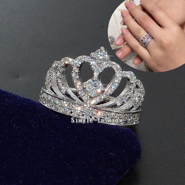 Vecalon Krone Stil Frauen Modeschmuck ring AAAAA Zirkon Cz 925 Sterling Silber Engagement hochzeit Band ring für frauen