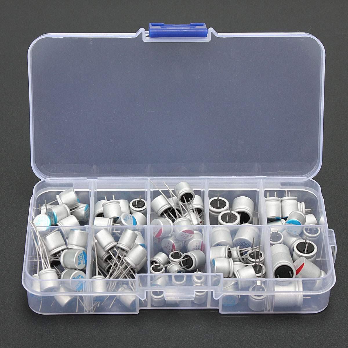 10values 90pcs Solid Capacitor Assorted Kit 2.5V/4V/6.3V/16V 100uF 270uF 470uF 560uF 680uF 1500uF With Free Storage Box