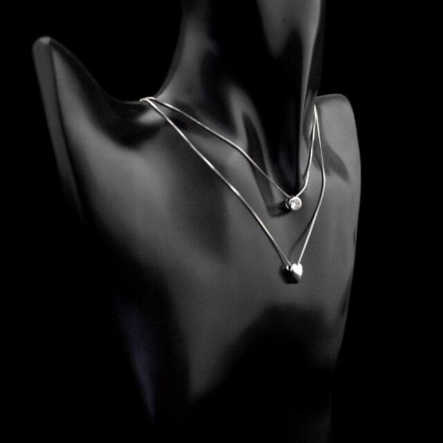 Купить женское двухслойное ожерелье из серебра 925 пробы с кулоном