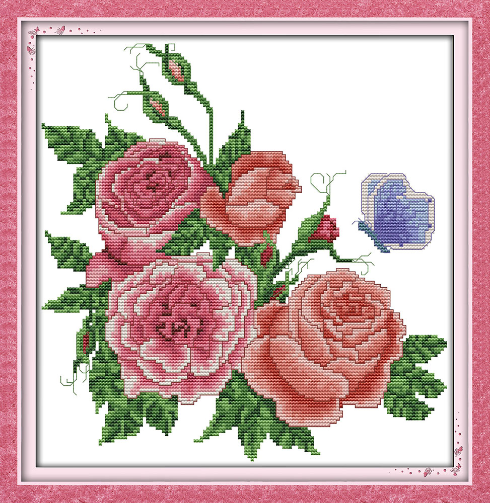 Roses flower cross stitch kit count print stamped fabric
