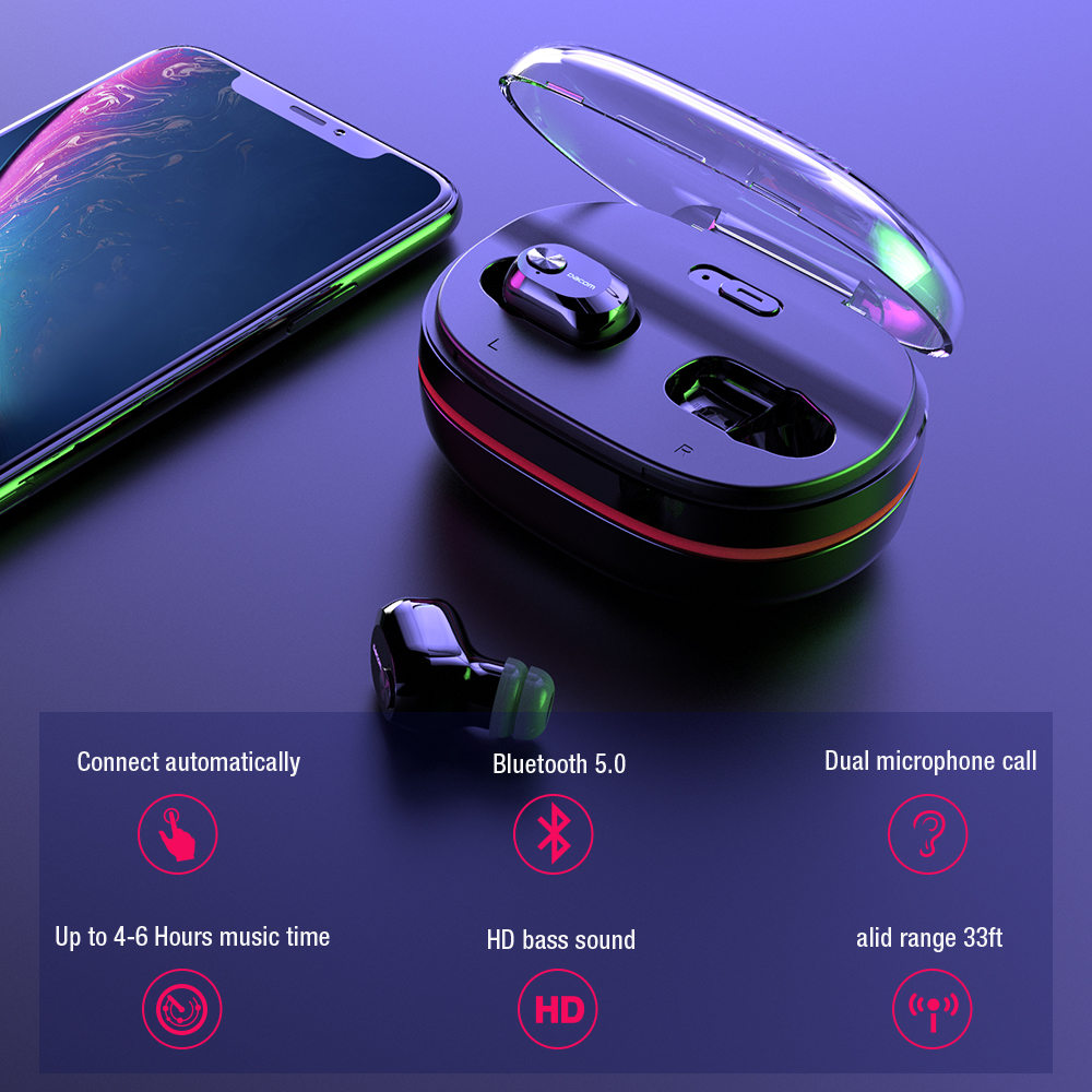 DACOM K6H True Wireless Ohrhörer Mini TWS Bluetooth Kopfhörer - Tragbares Audio und Video