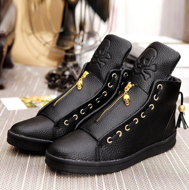 237e1a3dfe6 2016 Sales Designer Shoes Men High Quality Hip Hop Shoes Skull Mens Shoes  Casual Luxury Brand Famous Leather Tops Black White