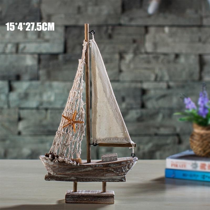 Yeni Ev Mobilya Akdeniz Retro Yelkenli Ahşap Tekneler Modeli - Ev Dekoru - Fotoğraf 4