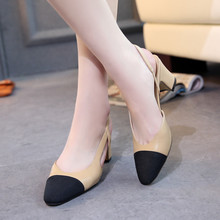 Hot Sale Star of high heels Block Heel sexy fashion round toed woman joint PU pumps Autumn women shoes EUR 35 -39 Free shipping