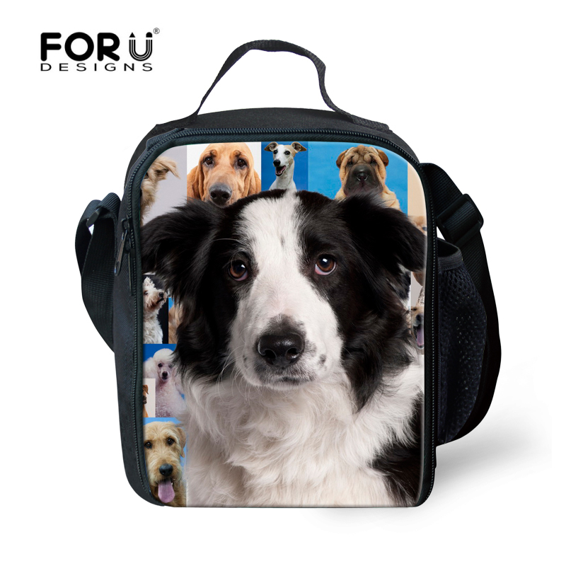 Fashion Animal Print Insulated Children Lunch Bag Cute Dog Head Portable Picnic Food Bag For Kids Students Storage Bolsa Termica