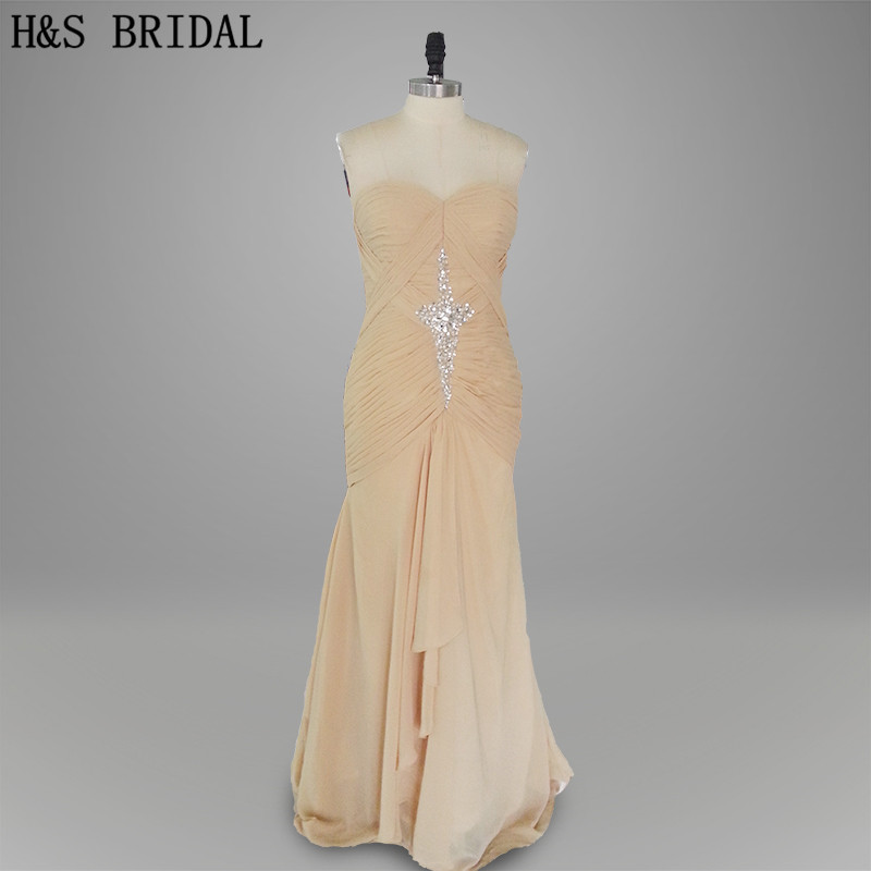 Real photo Formal Evening Gown Champagne color Beaded Long evening dress chiffon