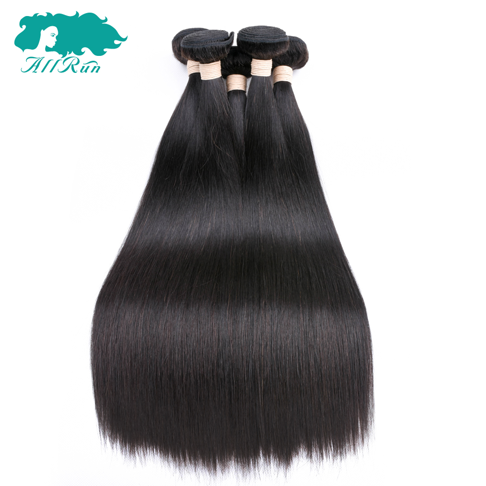 Hair One-Pack Double-Weft Straight 100%Human-Hair-Extensions 4bundles Peruvian Allrun