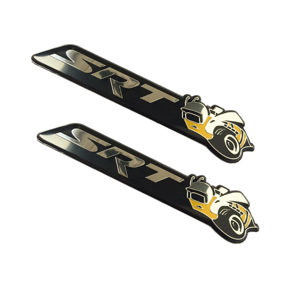 2pcs SRT Super Bee Car Metal Alloy Emblem Badge Stickers for Chrysler Dodge Charger Challenger R/T SRT ...