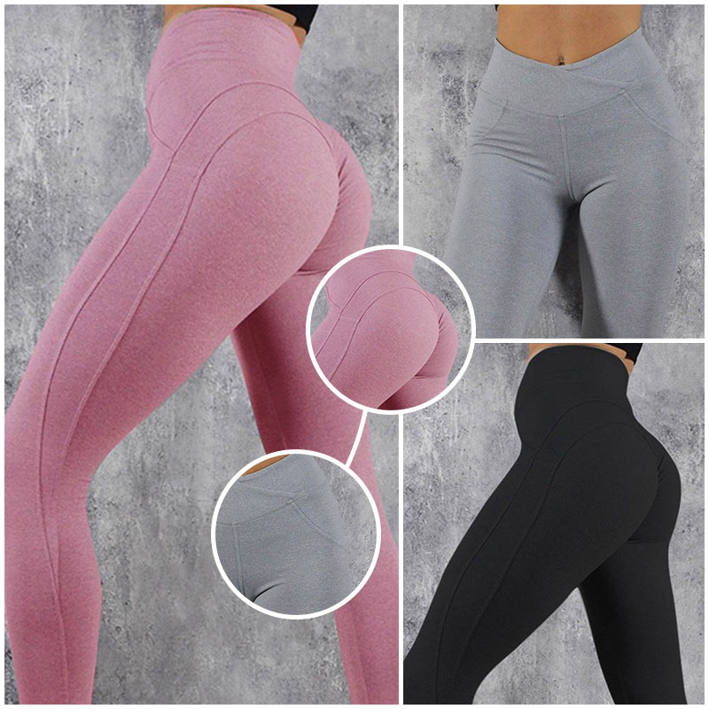 2019 Women Sportswear Athleisure Bodybuilding Ruched Legging Fitness Clothes Sporty Jegging Push Up High Waist Leggings 3Colors