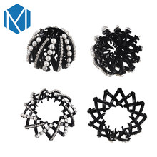 M MISM Women Pearl Hair Claws Bird Nest Shaped Hair Clips With Rhinestone Girls White Beads Hair Ponytail Holder Easy Bun Maker(China)