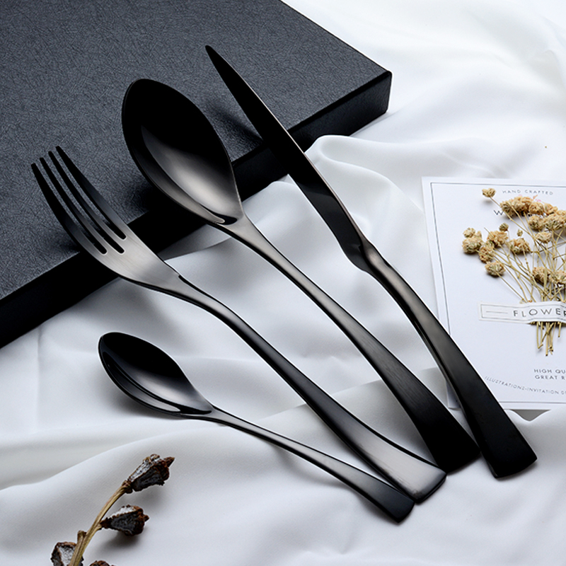 24 Pieces Shiny Black Dinnerware Cutlery Set 18/10 Stainless Steel Sharp Dinner Knives Forks Scoops Tableware Set24 Pieces Shiny Black Dinnerware Cutlery Set 18/10 Stainless Steel Sharp Dinner Knives Forks Scoops Tableware Set