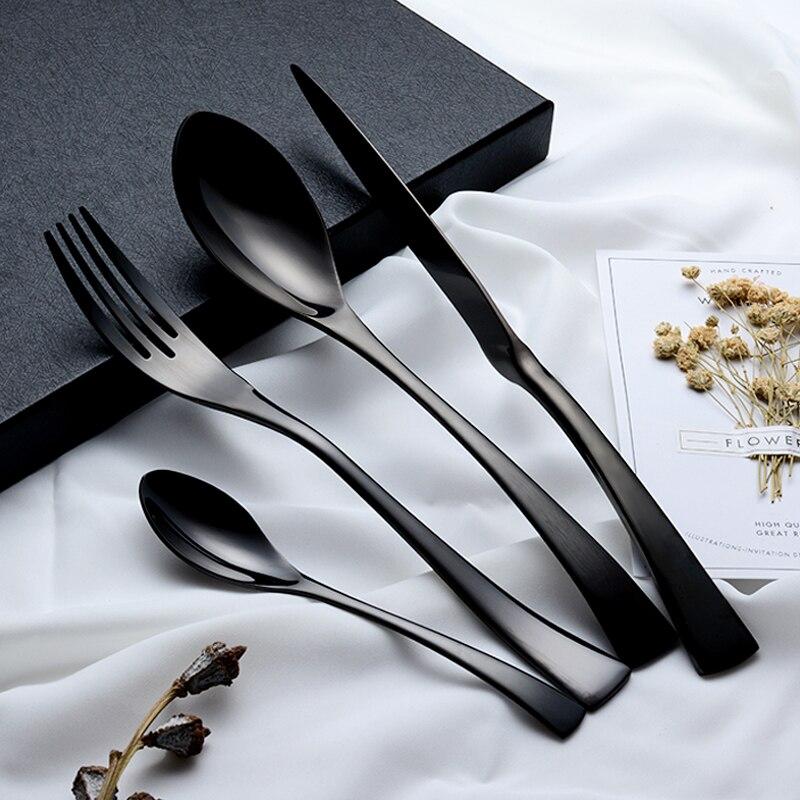 24 pièces brillant noir vaisselle couverts ensemble 18/10 acier inoxydable Sharp dîner couteaux fourchettes Scoops vaisselle ensemble