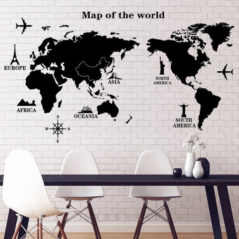 Black world map wall sticker pvc material diy wall decals for living black world map wall sticker pvc material diy wall decals for living room sofa background wall study decoration stickers in wall stickers from home garden gumiabroncs Choice Image