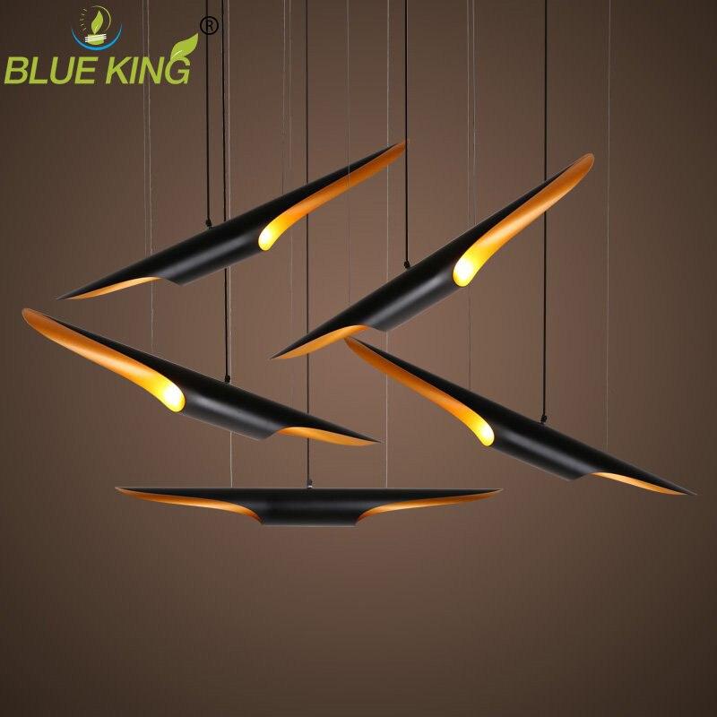 Moderne coltrane suspension lampe à LED en aluminium noir tuyau pendentif lumière or deux bout Art décoration suspension lampe