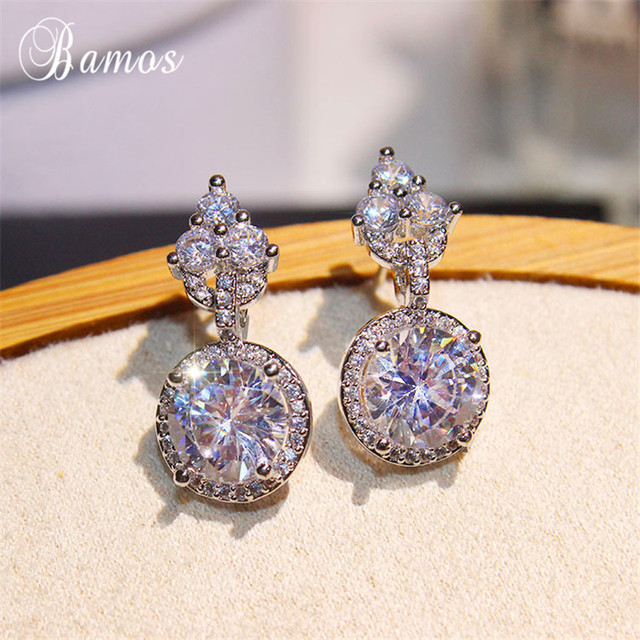 Bamos 925 Silver Filled Round Drop Earrings Women Fashion Cubic Zirconia Wedding Simple Geometric Jewelry