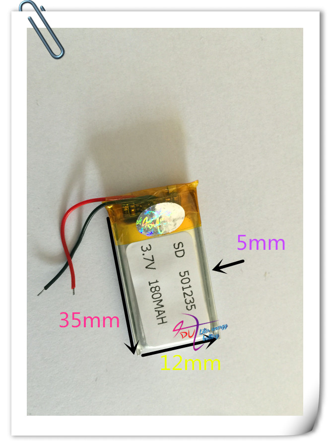 Wholesale 50 pcs 3.7V 180mah Lithium Polymer LiPo Rechargeable Battery For Mp3 Mp4 PAD DVD DIY E-book bluetooth 501235 3 7v lithium polymer battery 061745 601745 camera pen recorder bluetooth wireless mouse battery