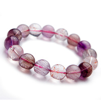 13mm Genuine Natural Super 7 Seven Bracelet Melody Stone Multi Colors Rutilated Quartz Crystal Bead Charm Bracelet For Women