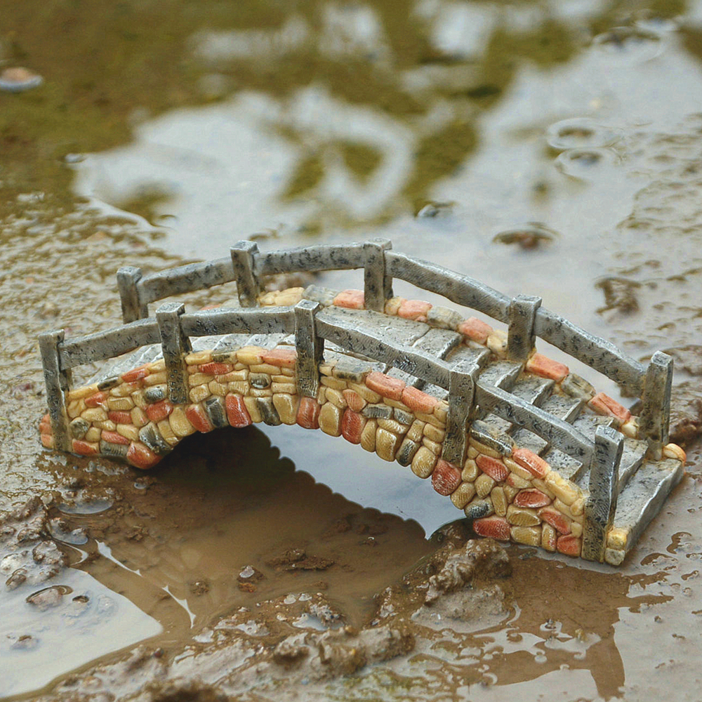Image 5 - Everyday Collection Miniaturas Fairy Garden Resin Cobblestone Bridge Wooden Bridge Personalized Home Decor Desktop Ornament-in Figurines & Miniatures from Home & Garden