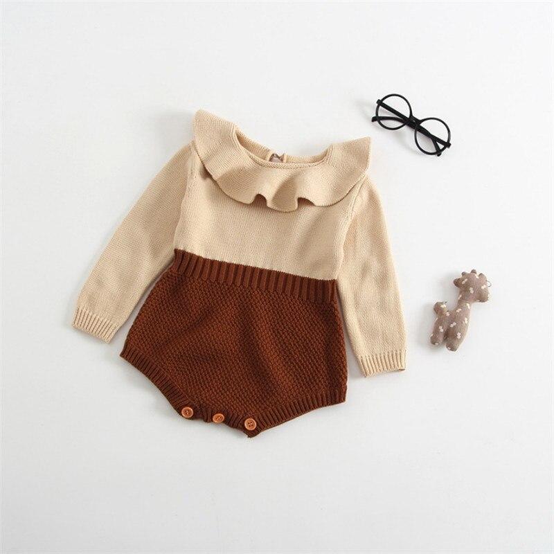 купить Baby Rompers Infant Baby Girls Playsuits Clothes Baby Girls Winter Summer Fall Long Sleeve Peter Pan Collar Knitting Wool Romper по цене 923.36 рублей
