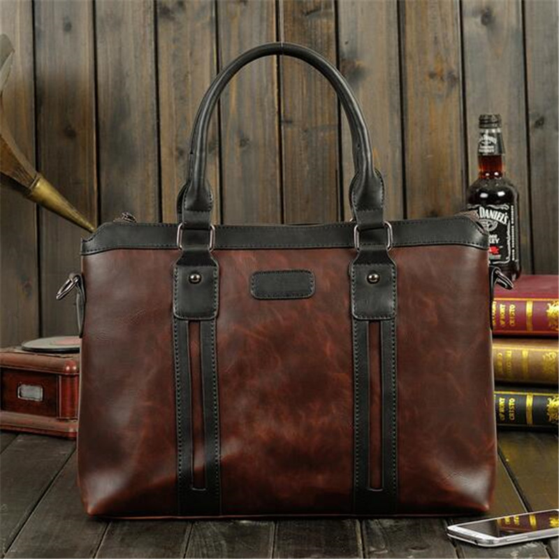2016 Men Casual Briefcase Business Shoulder Bag PU Leather Messenger Bags Computer Laptop Handbag Bag Men's Travel Bags 2015 men casual briefcase business shoulder leather bag men messenger bags computer laptop handbag bag men s travel bags
