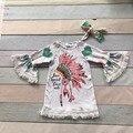 Primavera roupas meninas do bebê impressão pena de espírito livre amor dentro da árvore de flare manga trimestre vestido combinando com acessórios arco