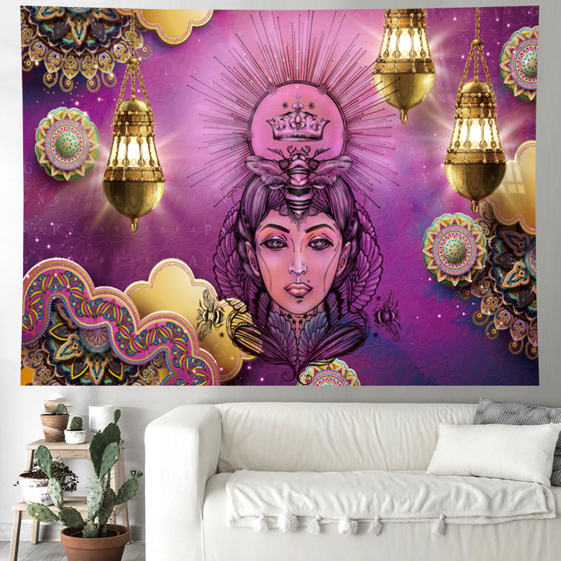 Image 4 - Morocco Psychedelic beauty Tapestry mandala Wall Hanging hippies indian Home Decor bohemian wall cloth Beach Mat GN.PAPAYA-in Tapestry from Home & Garden