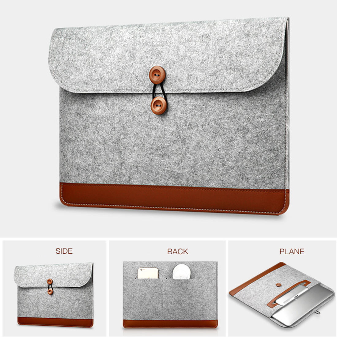 Image 5 - Centechia New Fashion Soft Sleeve Bag Case For Apple Macbook Air Pro Retina 11 12 13 15 Laptop Anti scratch Felt Cover-in Laptop Bags & Cases from Computer & Office