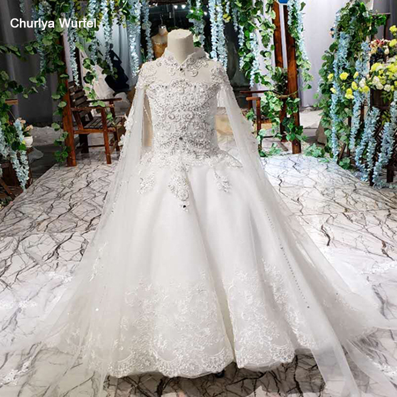 LS00169t White Flowers Girl Dress With Cape Lace High Neck Fairy Communion Dress With Train Robe De Première Communions Blanc