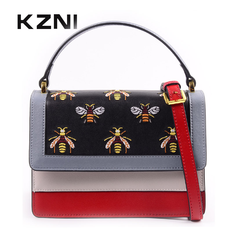 KZNI Genuine Leather Top-handle Bags Female Women Leather Handbags for Girl Cross Shoulder Bags 2018 Sac a Main Sac a Main 9135 kzni genuine leather crossbody bags for women purses and handbags women famous brands top handle bags female 2017 sac a main9012