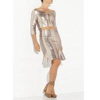 2018 новые летние дизайн 2 два комплекта пикантные короткие Бандажное платье миди Для женщин блестка молнии 2 комплекта знаменитости вечерние
