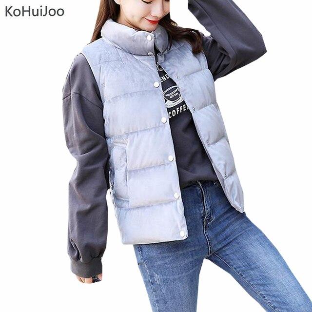 58a28067e7b KoHuiJoo 2018 Autumn Winter Women Velvet Vest Casual Stand Collar Solid  Thick Warm Waistcoat Female Sleevless Jacket Plus Size