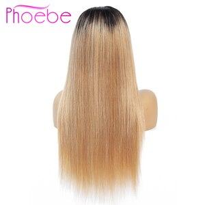 Image 2 - Phoebe 1b/27 4x4 스트레이트 옹 브르 레이스 클로저 가발 브라질 100% 인간의 머리카락 가발 흑인 여성을위한 비 레미 150% 밀도 낮은 비율