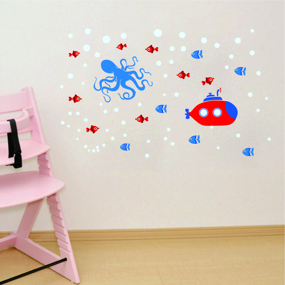 Anchor Lighthouse Octopus Submarine DIY Wall Art Decal For Kid Nursery Bedroom Home Decor Vinyl Wall Sticker Removable Wallpaper (8)